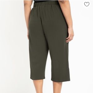Eloquii Cropped Pant with Buckle in BLACK